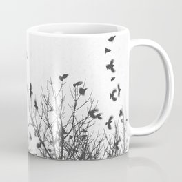 Crows in Flight on Snowy Morning Black and White Photography Coffee Mug
