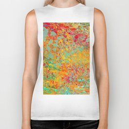 psychedelic fractal geometric triangle abstract pattern in orange yellow green blue red Biker Tank