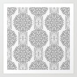 Gray white Damask ornament . Art Print