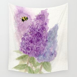 Watercolor Lilacs Spring Garden Flowers Wall Tapestry