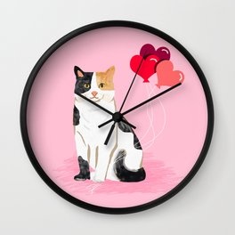 Calico Cat love heart balloons cat lady cat gifts cat person must have Wall Clock
