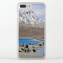 Fur Seals, King Penguins and Snowy Mountains Clear iPhone Case