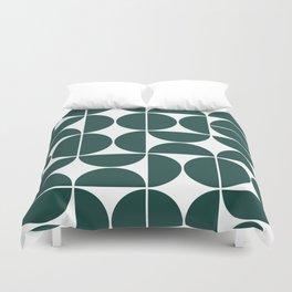Mid Century Modern Geometric 04 Dark Green Duvet Cover