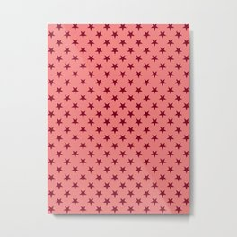 Burgundy Red on Coral Pink Stars Metal Print