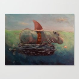 Hippos kill more people than sharks Canvas Print