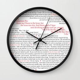 American Pie (all of it) Wall Clock