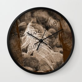 Boho Grunge Sepia Swan Feather and Text Design Wall Clock