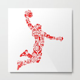 Basketball RED Metal Print