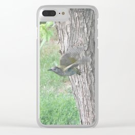 Green Woodpecker flying Clear iPhone Case