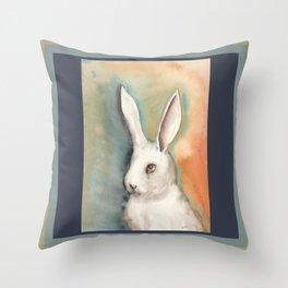 Portrait of a White Rabbit Throw Pillow