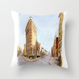 The Flatiron Building in March Throw Pillow