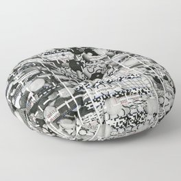 Divergence Toward Chaotic Attractors (P/D3 Glitch Collage Studies) Floor Pillow