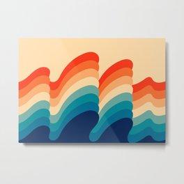 Retro 80s 70s Blue and Orange Mid-Century Minimalist Abstract Art Ripples Metal Print