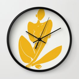 Sitting nude in yellow Wall Clock