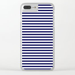 Navy Blue & White Maritime Small Stripes- Mix & Match with Simplicity of Life Clear iPhone Case