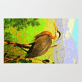 Egret Bird In Scenic Landscape  Rug