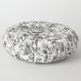 Alice in Wonderland | Toile de Jouy | Black and Beige Floor Pillow