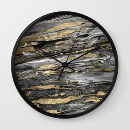 Stylish gold abstract marbleized paint Wall Clock