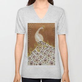 Peacock in Bronze Unisex V-Neck