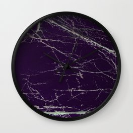 Purple Marble Crease Texture Design Wall Clock