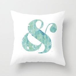 Aqua Watercolor Ampersand Throw Pillow