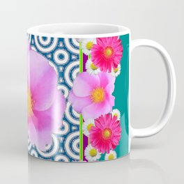 Teal Color Art Fuchsia Gerbera Daisy Flowers Pink Roses Patterns Coffee Mug