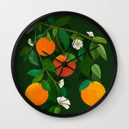 Oranges and Blossoms / Botanical Illustration Wall Clock