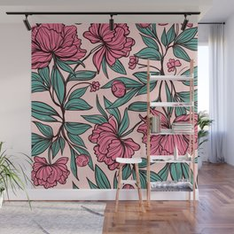 Flowers and leaves hand drawn Wall Mural