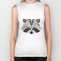 raccoon Biker Tanks featuring raccoon! by Manoou