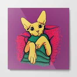 Yellow Cat in a Green Sweater - Sphynx Cat Illustration Metal Print