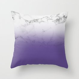 Modern white marble ultra violet purple ombre gradient Throw Pillow