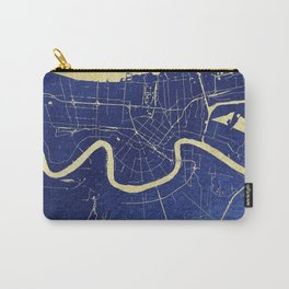 New Orleans Blue and Gold Map Carry-All Pouch