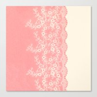 aelwen Canvas Prints featuring Lace #CoralPink by Armine Nersisian