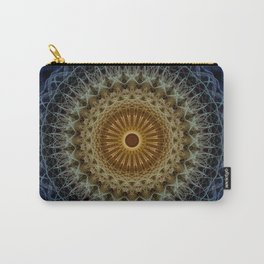 Mandala in blue and amber tones Carry-All Pouch