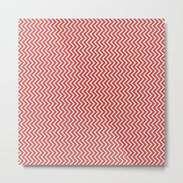 Vibrant chevron pattern in fiesta red Metal Print