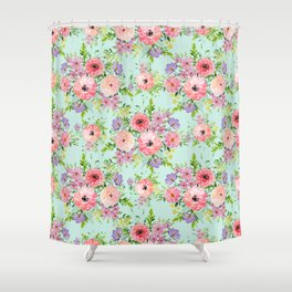 Blooming floral bouquet watercolor hand paint Shower Curtain