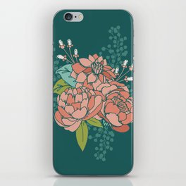 Moody Florals in Teal iPhone Skin