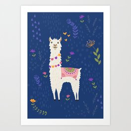 Llama on Blue Art Print