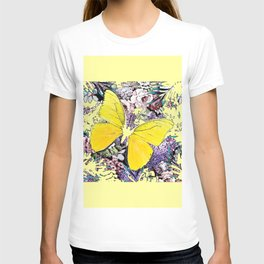 CONTEMPORARY YELLOW  BUTTERFLY FLOWER FLORAL DRAWING T-shirt