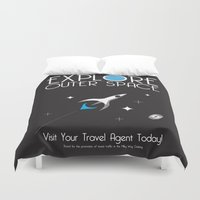 outer space Duvet Covers featuring Explore Outer Space by Ryan Polinsky