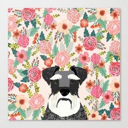 Schnauzer dog head floral background flower schnauzers pet portrait Canvas Print