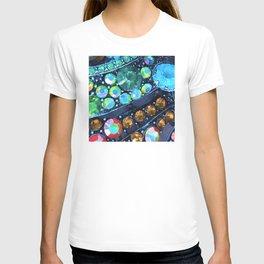 Blue, Green and Gold Jewels Art Design T-shirt