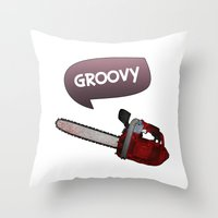 evil dead Throw Pillows featuring Evil dead Groovy chainsaw by Komrod