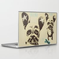 foo fighters Laptop & iPad Skins featuring FOO FOO FRENCHIE with Pet Bunny by Haus Of Lelu
