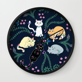 Garden Kitties Wall Clock