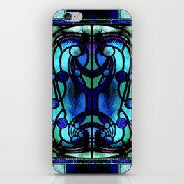 Blue and Aqua Stained Glass Victorian Design iPhone Skin
