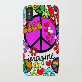 Imagine Peace Sybols Retro Style iPhone Case