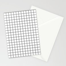 Geometric Black and White Grid Print Stationery Cards