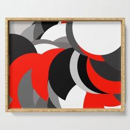 black white grey red geometric digital art Serving Tray