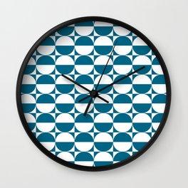 Mid Century Modern Half Circles Pattern Peacock Blue Wall Clock